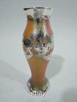 La Pierre / Loetz Vase Art Nouveau Rainbow Austrian Glass Silver Overlay