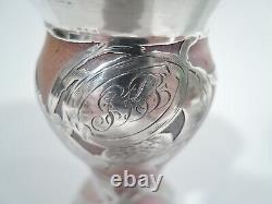 La Pierre Vase Antique Art Nouveau Bud Austrian Glass Silver Overlay