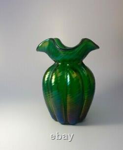 Large 1910s Nouveau Loetz Crete Rusticana Austrian Iridescent Green Glass Vase