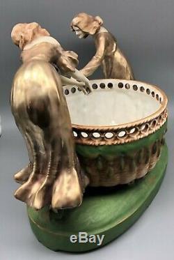 Large Amphora Porcelain Figural Group Art Nouveau Austria