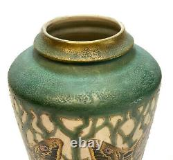 Large Amphora Turn Teplitz Pottery Enamel and Gilt 14 inch Vase, Moth, c1910