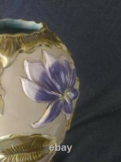 Large Antique Austrian Art Nouveau Majolica Pottery Vase Purple Flowers