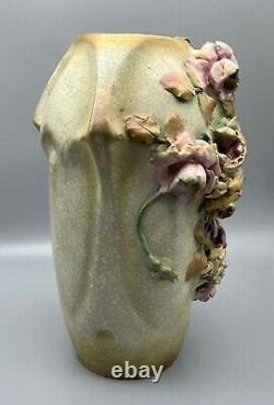 Large Art Nouveau 12 Roses Amphora Vase Teplitz RStK Austria