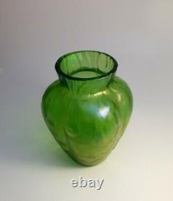 Large Art Nouveau Austrian Loetz Crete Rusticana Iridescent Green Glass Vase