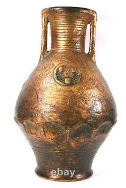 Large Austrian Pottery Vase Roman Design Circa 1900 35 cm