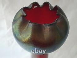 Large Austrian Tall Art Nouveau Irridescent Glass Vase A/f To Side Top