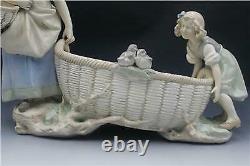 Large C1920s Czech Bohemian Amphora Art Pottery Figural Center Piece Basket Bowl