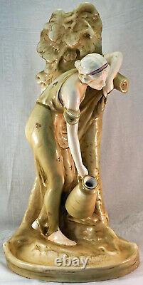Larger Austrian Porcelain Figurine Vase Art Nouveau Lady with Jar Gathering Water