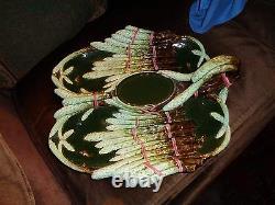 Lat 19th c Austrian Julius Dressler Art Nouveau PotteryMajolica Asparagus Server
