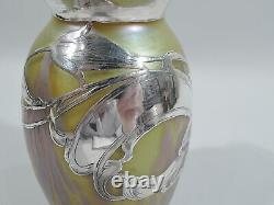 Loetz / La Pierre Medici Vase Austrian Iridescent Art Glass Silver Overlay