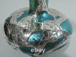 Loetz Vase Antique Art Nouveau Austrian Blue Green Glass Silver Overlay