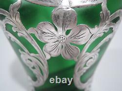 Loetz Vase Art Nouveau Antique Austrian Bohemian Green Glass Silver Overlay