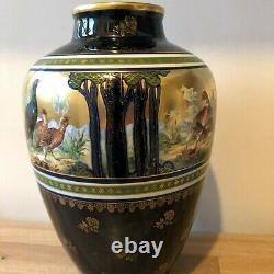 Lovely Turn Teplitz Ernst Wahliss Large Vase Wild Fowl in Forest