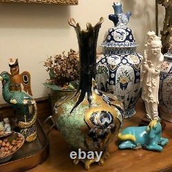 Lovely Turn Teplitz RStK Amphora Large Ewer Vase Cobalt Blue & Gold Iris Design