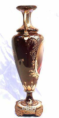 MAGNIFICENT 19th CENTURY AUSTRIAN ROYAL VIENNA HAND PAINTED VASE SIGNED WAGNER