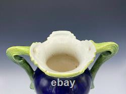 Majolica Josef Strnact Art Pottery Vase Poppies Cobalt Blue Double Handle 13