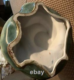 Monumental 28 Tall Art Nouveau Maiden on Iris Amphora Style Vase