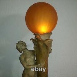 Monumental 38 in Austrian Art Nouveau glazed pottery lady tree figural lamp 1900