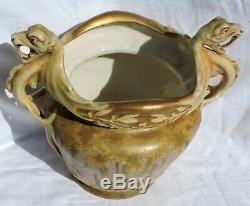 Monumental Amphora Porcelain Vase With Dragon Turn Teplitz Austria 1899-1900
