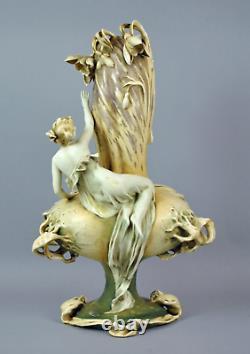 Monumental Art Nouveau Amphora Fates Vase RSTK Stellmacher Teplitz
