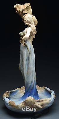 Monumental Art Nouveau Blue Maiden Figural Amphora Lamp Stellmacher Teplitz