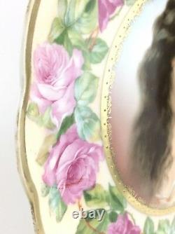 Moritz Zdekauer Austria Porcelain Charger Pink Roses Over Pastel Yellow I099