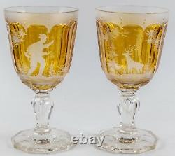 PAIR c1880 Austrian Etched Crystal Wine Glasses Deer Forest Scene Antique