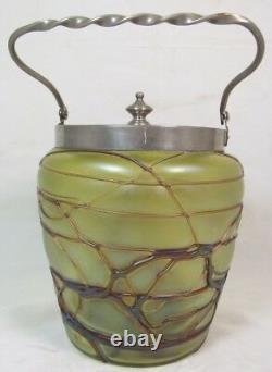 PALLME KONIG Koenig Austrian ART NOUVEAU Art Glass BISCUIT/CRACKER JAR withLID