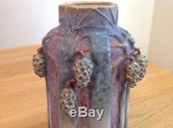 PAUL DASCHEL Art Nouveau Turn Teplitz Pottery Vase Austria Pine Trees cones