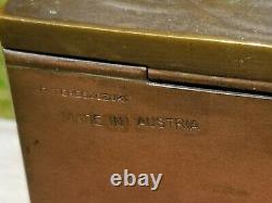 PETER TERESZCZUK c. 1900 AUSTRIAN BRONZE CIGARETTE BOX EROTIC WOMAN ART NOUVEAU