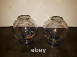 Pair Art Glass Enameled Vases Deco or Nouveau Austrian Czech