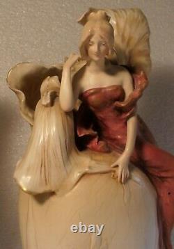 Pair Austrian Amphora Teplitz Art Nouveau Fantasy Floral Maidens Signed Vases