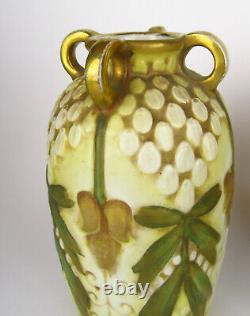Pair Of Austrian Amphora Art Nouveau Jugendstil Autumnal Colour 4 Handled Vases
