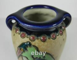 Pair Of Austrian Amphora Twin Handled Vases Art Nouveau Enamel Heron Decoration