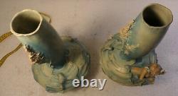 Pair Vases Austrian Amphora Teplitz Art Nouveau Mermaids Signed Bernard Block