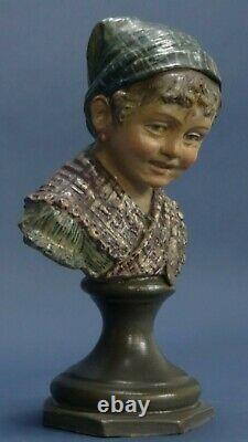 Pair ceramic gres busts Sculpture Austria B. Bloch 1800 XIX similar Goldscheider
