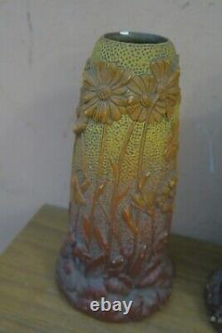 Pair of 2 Vintage Art Nouveau Austrian Julius Dressler Retro Majolica Vase JBD