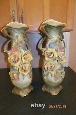 Pair of Two Antique Amphora Vases Teplitz Art Nouveau Delicate Rose Design 21