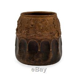 Patinated Bronze Vase Austrian Jugendstil Gustav Gurschner circa 1905 Oakleaf