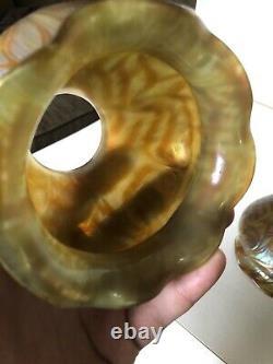 Phenominal Set of 4 Matching Austrian Loetz Attributed Art Glass Lamp Shades