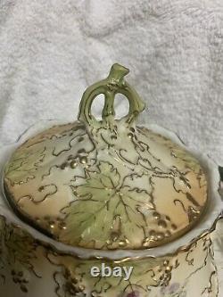 RARE Signed Ernst Wahliss Austrian Art Nouveau Biscuit Jar Handpainted Berries
