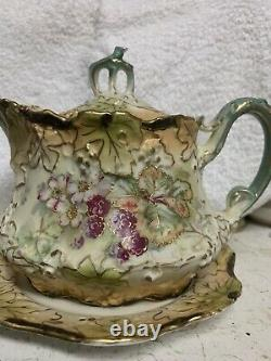 RARE Signed Ernst Wahliss Austrian Art Nouveau Syrup with Handpainted Berries