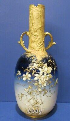 RSK Turn Teplitz Amphora Spider Web Floral Enamel Design Blue Gold