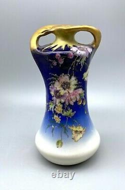RStK Teplitz Stellmacher Art Nouveau Amphora Floral Cobalt Blue Vase