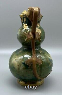 RStK Teplitz Stellmacher Art Nouveau Amphora Forest Vase with Serpents Dragons