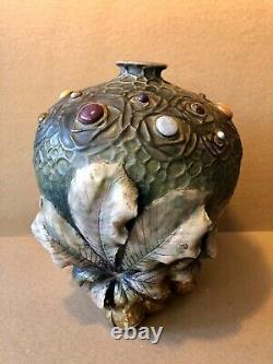 Rare 1904 Amphora Gres Bijou Chestnut Vase By Werke Riessner, Teplitz Austria