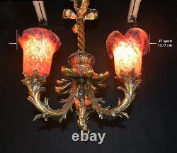 Rare 19th C WMF Neo-Classical Austrian Art Nouveau Heavy bronze 3 arm chandelier