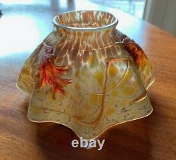 Rare Antique Czech Austrian Loetz Bohemian Art Glass Shade Threading Floral