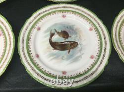 Rare Antique Set Of 6 Victoria Austria Limoges Fish Pattern Gold Trim Dish