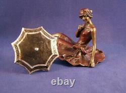 Rare Franz Bergman Erotic Austrian Cold Painted Bronze Girl with Parasol, Signed